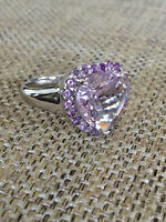 Rose De France Amethyst Sterling Silver Faceted Heart Ring size 9