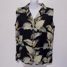 Tommy Bahama Women's Top Calla Lily Black Silk Sleeveless Size M