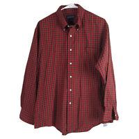 Lands End Button Down Shirt Mens XL 17 Red Check Long Sleeve 34 100% Cotton Euc