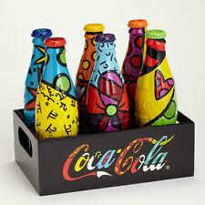 ROMERO BRITTO COCA-COLA: SET OF SIX COKE BOTTLES & CRATE DISPLAYER * GIFT BOXED