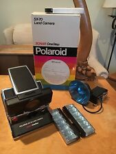 VTg   Polaroid SX-70 Fold out Land Camera w/ Box  and a #268 Flash