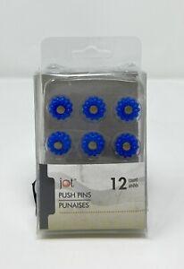 Jot Set of 12  Blue Daisy Bulletin Board Push Pins Thumbtacks New In The Package