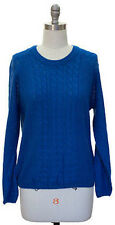 L Jon and Anna NY Solid Blue Acrylic Cable Knit Sweater Crewneck