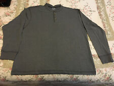 Men's Marino Bay Grey Long Sleeve Henley Shirt, Size 2XL