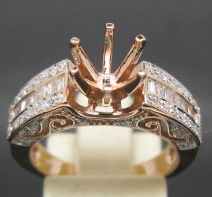 6.5mm Round Cut Solid 14K Rose Gold Natural Diamond Ring Prongs Setting