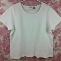 White Stag Women's Knit Top White Short Sleeve Stretch Pullover Size XL