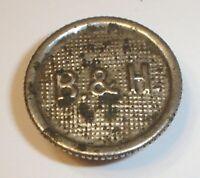 Antique B&H Bradley & Hubbard Embossed Nickel Plated Kerosene Oil Lamp Fuel Cap