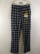 Batman DC Comic Men's Buffalo Check Black Gray Pajama Pants Lounge Size L F12
