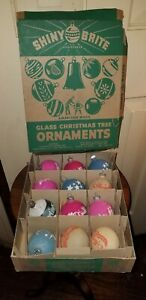 EARLY SHINY BRITE glass OPAQUE MATTE UNSILVERED STENCIL WAR CHRISTMAS ORNAMENTS