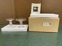LONGABERGER GLASS PEDESTAL CANDLE STAND TABLETOP SET OF 2, NEW!