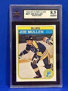 1982/83 O-PEE-CHEE NHL HOCKEY CARD #307 JOE MULLEN ROOKIE KSA 8.5 SHARP+ OPC