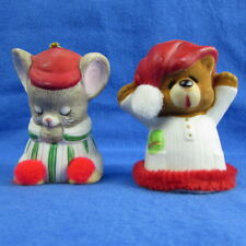 2 Lil Chimer Christmas Bell Ornaments Sleeping Mouse Bear Vtg Jasco Handpainted