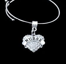 Nurse bracelet  RN  LPN  crystal heart style charm  Nursing  best jewelry gift