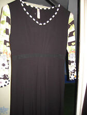 EVA & CLAUDI DRESS BLACK  WITH PATTERNED 3/4 SLEEVES Size M UK 14 APPROX    NWOT