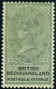 BECHUANALAND-1888 10/- Green & Black. A mounted mint example, hinge remain Sg 19