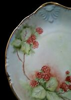 """Antique porcelain scalloped hand painted """"Raspberries"""" dish 10 inches"""