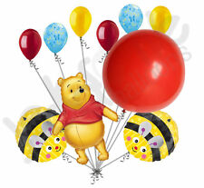 10 pc Winnie Pooh Bear Red Balloon Happy Birthday Bouquet Party Decoration Bee
