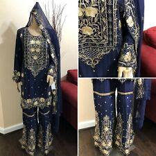 Pakistani Chiffon Gharara Siut Embroidery, Fancy Thread work and Sequins, Navy B