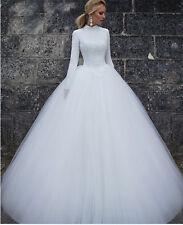White Ivory Long Sleeve Bridal Gowns Muslim Dubai Arabia High neck Wedding Dress