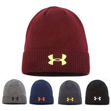 Men's Black Under Armour Hat Beanie Embroidered UA Winter Sport Cap Outdoor