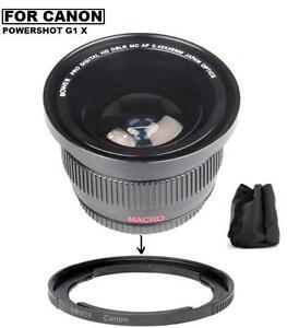 Bower Wide Angle Fisheye Lens + Lens Adapter For Canon PowerShot G1 X Mark II