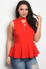 Women's Plus Size Red Sleeveless Peplum Top with Criss Cross Neckline 1X NWT
