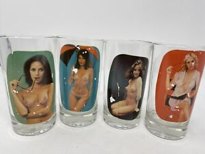 "4 Vintage stripping nude peek-a-boo naked women highball drinking glasses 5"" set"