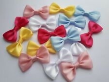 10 Mini Small Bows Satin Ribbon Bows Sew Crafts Pre Tied Baby Colours Mix