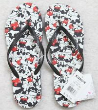 New Flip Flops Large Mickey Mouse Black White Red Graphic Beach Surf Women's NWT