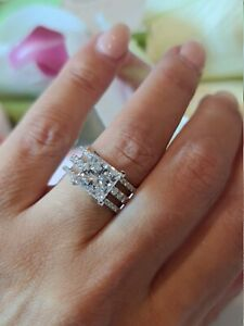 14K White Gold Plated Classic 3 Row Engagement Ring 3 Ct Princess Cut Moissanite