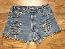 Vtg Womens Levis High Waist Denim Shorts Size 14 W33 Boyfriend Fit Distressed