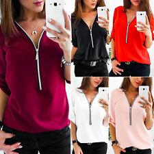 Damen T Shirts Longshirt Bluse Tops Reißverschluss V-Ausschnitt Langarm Oberteil