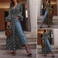 Women Leopard Print Oversized Long Blouse Bell Long Sleeve Split Maxi Shirt Top