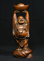 Old Chinese Boxwood Wood Carved Weath YuanBao Happy Laugh Maitreya Buddha Statue