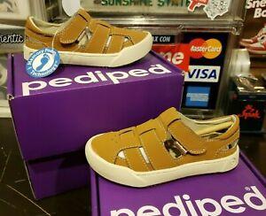 NEW Pediped Mark Tan Flex Foam Boys Single Strap Sandals Toddler 9T 9.5T 26 EUR