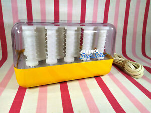Awesome Vintage MoD Yellow Clairol Style Setter 14pc Hot Curler Roller Set