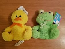 LOT OF TWO Cute Yellow Chick & FROG Plush Soft Baby Toy Doll Stuffed Gifts