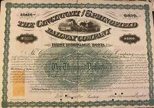 1871 Cincinnati & Springfield Railway Bond Multiple Imprinted Revenues RNW2 RNP5