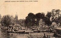 LONDON - Hampton Church & Garrick Villa - River Thames - Original Postcard (LCT)
