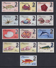 Mauritius 1972-73 Mint MNH Set 12 values Definitives Shells Fish Crabs Marlin