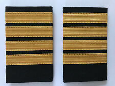 4 Bar Airline Captain Pilot/Merchant Marine Epaulette, Gold Stripe Epaulettes