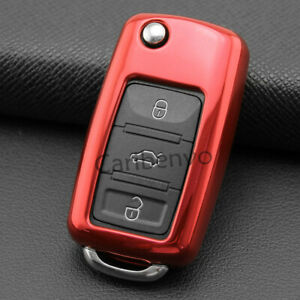 Red TPU Car Key Chain Wrap Case Cover For V.W. Tiguan Passat Jetta Golf Eos Up!