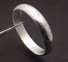 Textured Domed Hinged Bangle Bracelet Safety Chain  Real 925 Sterling Silver