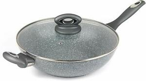 Salter BW02772G Marble Collection Forged Aluminium Non Stick Wok, 28 cm, Grey