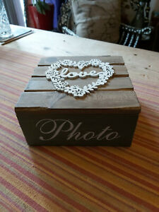 WOODEN LOVE PHOTO GREEN BOX  --- FREE POSTAGE