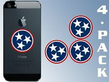 4-PACK Round Tennessee 3 Stars Logo Cell Phone Stickers (decal flag tn)