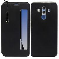 """Etui View Case Flip Folio NOIR Leather pour Huawei Mate 10 Pro 6.0"""" BLA-L09/ L29"""