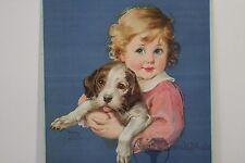 altes Plakat Kunstdruck Kind mit Hund Frances Tipton Hunter Lithographie um 1930