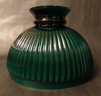 "New 10"" Green Over Opal Cased Glass Ribbed Student Lamp Shade, Hand Blown #SH587"