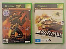 ORIGINAL XBOX VIDEO GAMES - HALO 2 - 2004 Bungie + Battlefield 2 Microsoft PAL